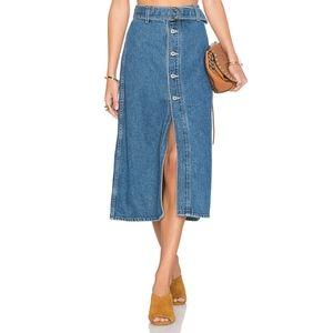 Tularosa Blue Denim Midi Jean Skirt w/ Belt Sz 26